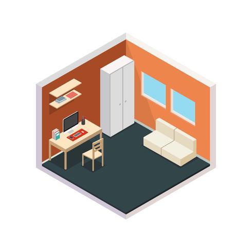Vetor de conjunto isométrico do espaço de trabalho