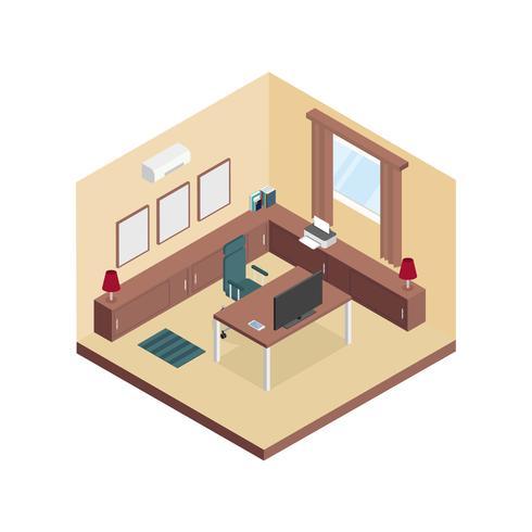 Vector de sala de espacio de trabajo isométrico