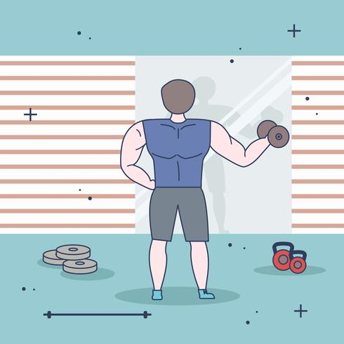 Flat Bodybuilder Vector