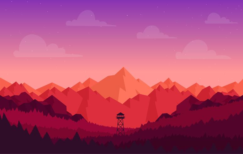 Vector Colorful Landscape Illustration