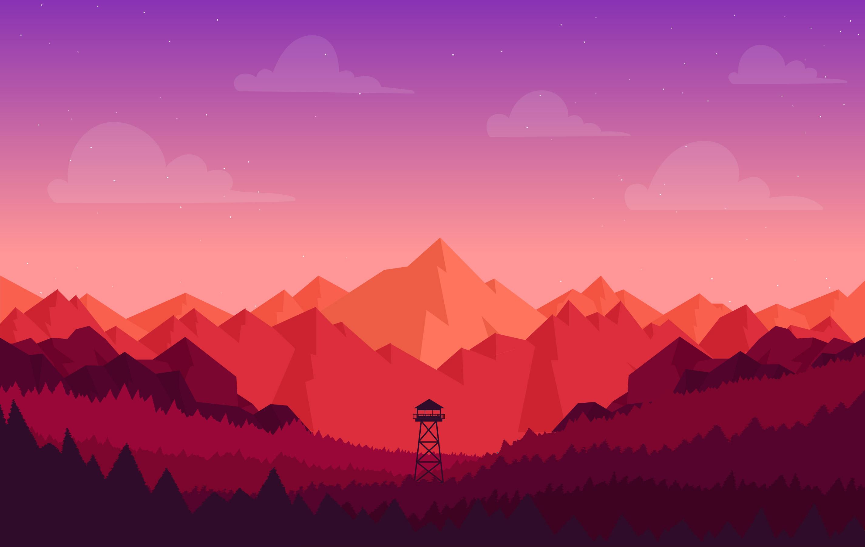 Landscape Illustration Vector Free: Vector Colourful Landscape Illustration
