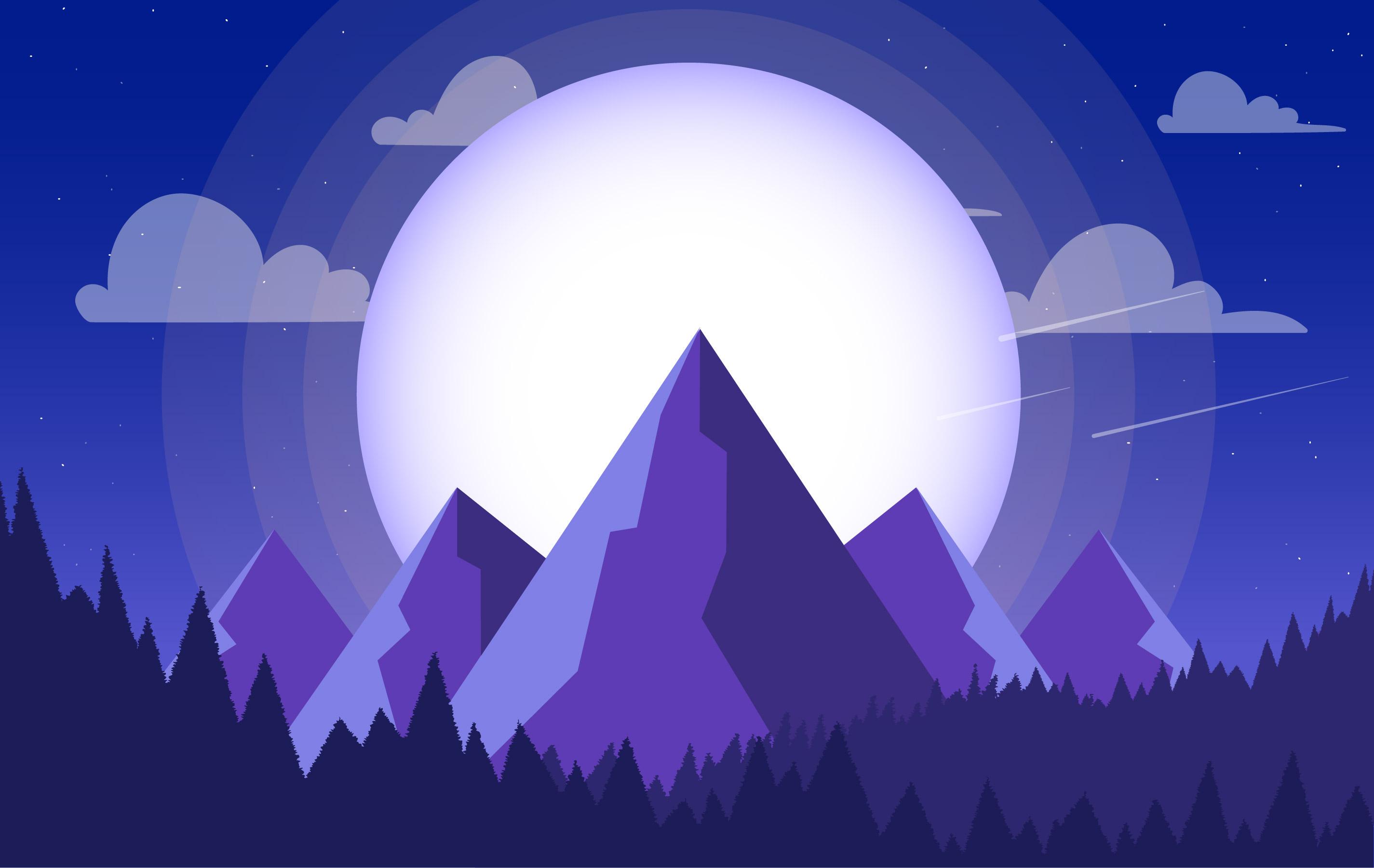 Landscape Illustration Vector Free: Vector Colourful Purple Landscape Illustration