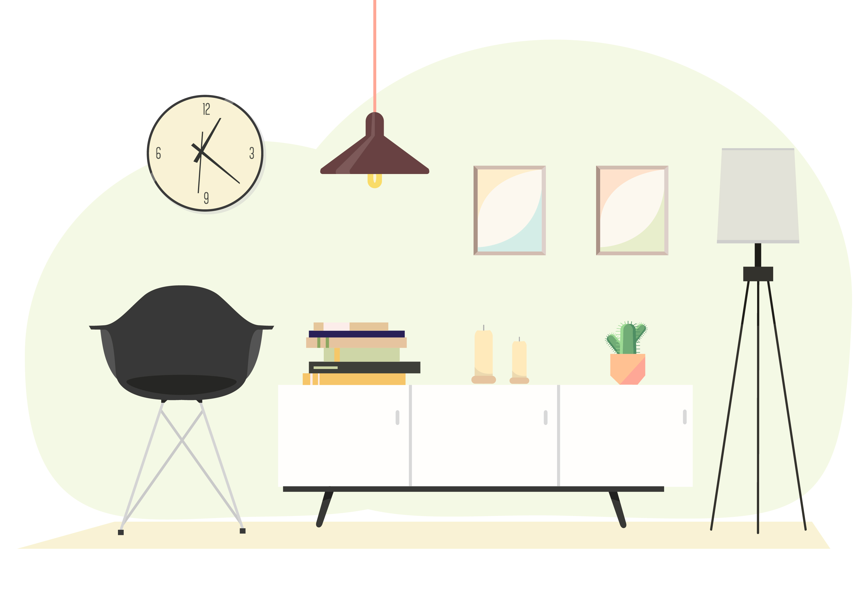 Vector Interior Design Illustration  Download Free Vector Art, Stock Graphics  Images