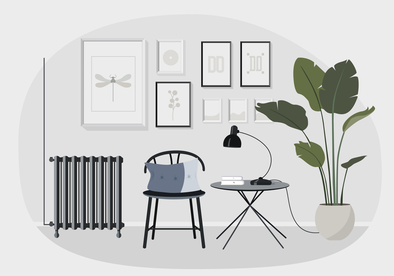 Interior Design Line Art Vector : Vector interior design illustration download free