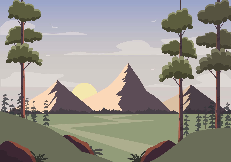 Landscape Illustration Vector Free: Vector Nature Landscape Illustration