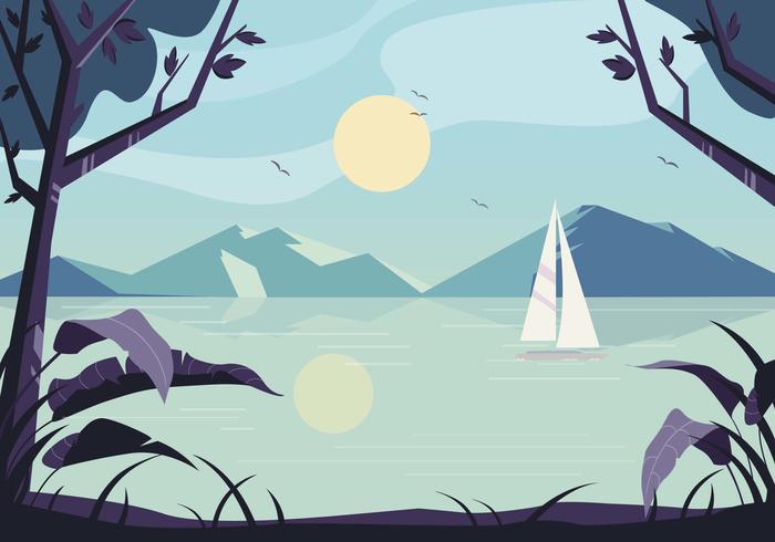 Ilustración de paisaje de naturaleza vectorial
