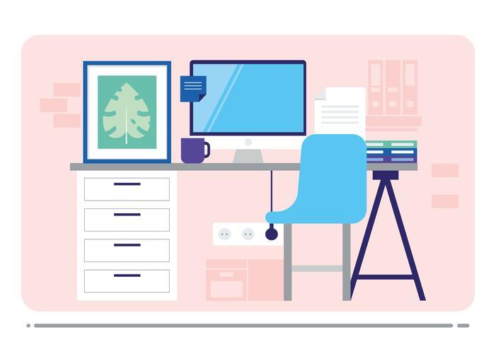 Vector Office Desk Illustration
