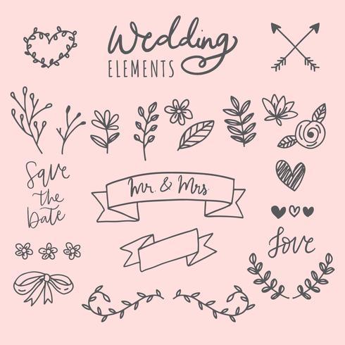 Hand Drawn Wedding Elements vector