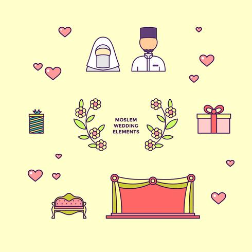 Iconic Moslem Wedding Elements Vector