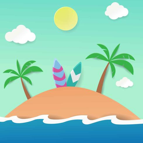 Plage Papercraft Vector Illustration