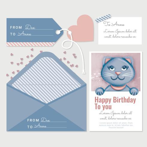 Cartão de aniversário de gato bonito de vetor