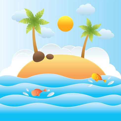 Beach Papercraft Vector