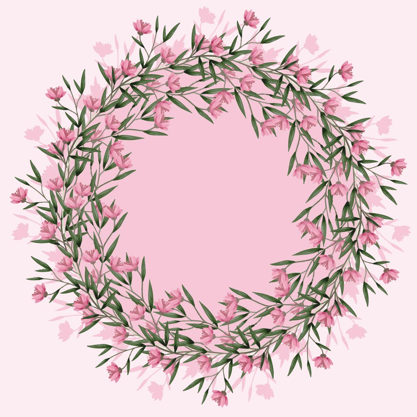 Vector Pink Floral Wreath Download Free Vector Art Stock Graphics