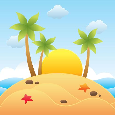 Beach Papercraft With Sunset Vector