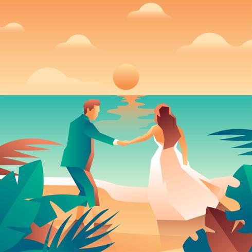 Vector de elementos de boda de playa