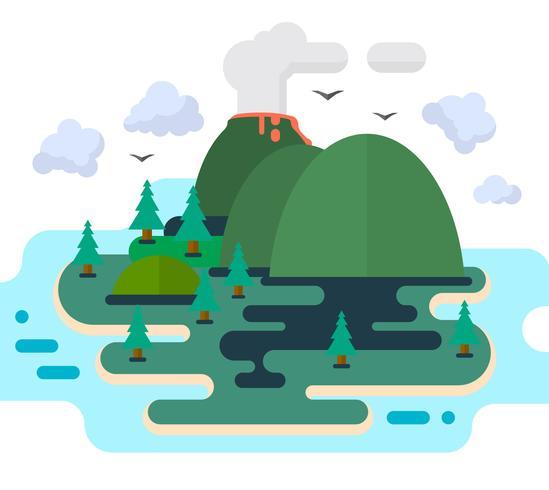 isla plana y solitaria vector