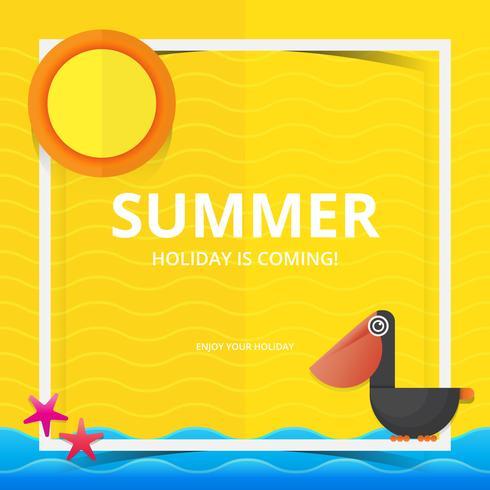 Strand en zee illustratie voor zomer thema in Papercraft stijl