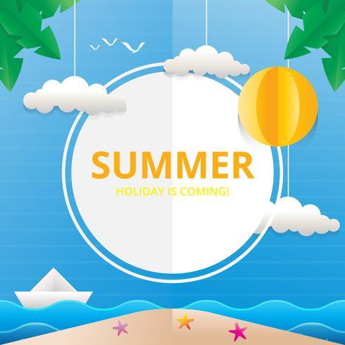 Strand- och havsillustration för sommartema i Papercraft-stil