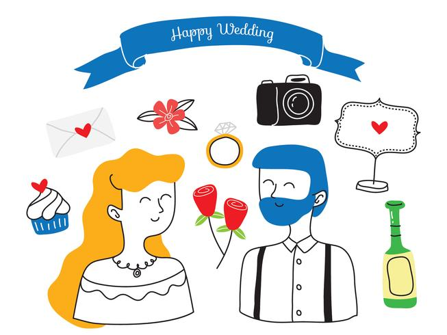 Ensemble de Doodle de mariage