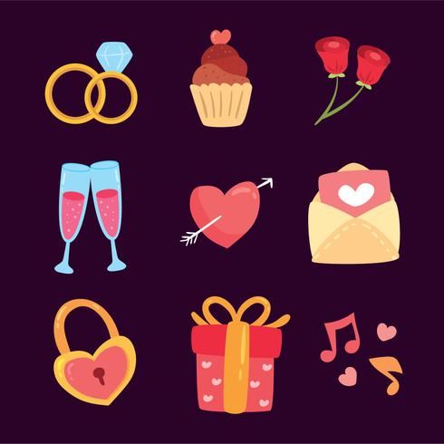 Wedding Elements Collection Vector