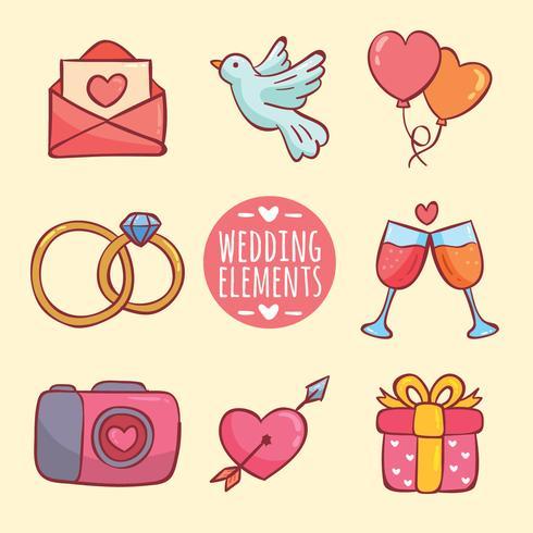 Vetor de elementos de casamento mão desenhada