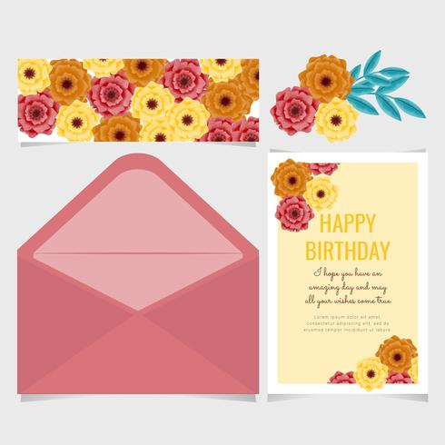 Vector Paper Flower Birthday Card