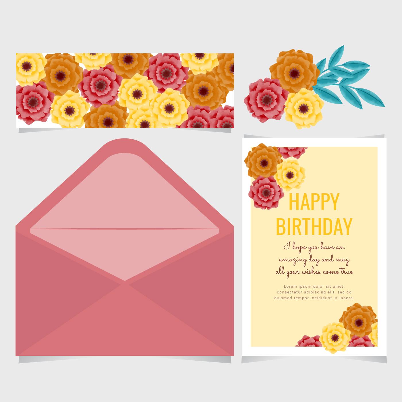 Vector Paper Flower Birthday Card Download Free Vector Art Stock