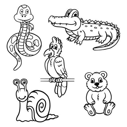 Animales del libro de colorear vector