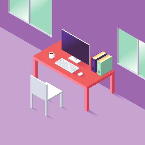 Isometric Workspace Illustration Vector