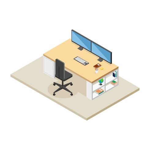 Isometrische werkruimte Vector