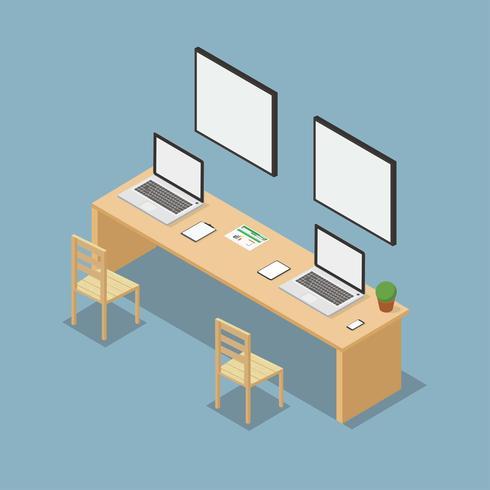 Vetor de escritório isométrica do espaço de trabalho