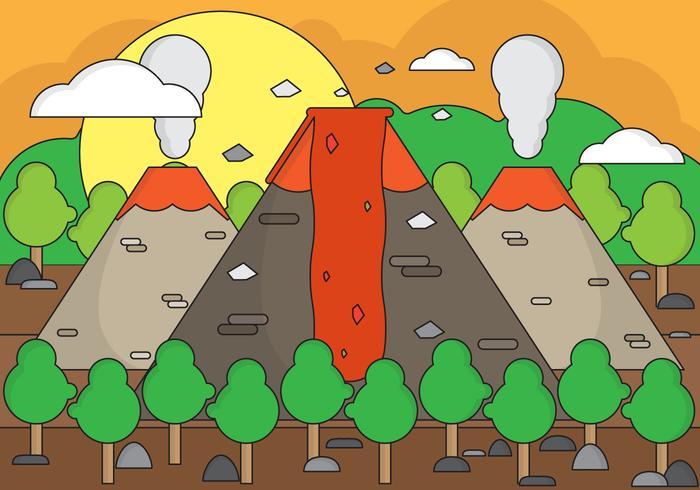 Ilustración de fondo del volcán