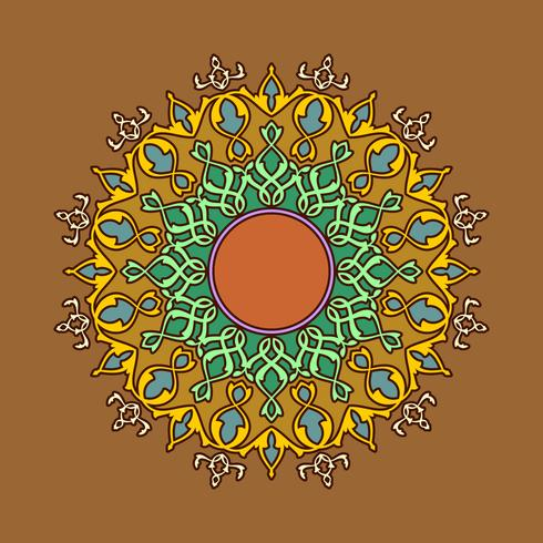 Mandala Decorativa Ornaments Brown Background Vector
