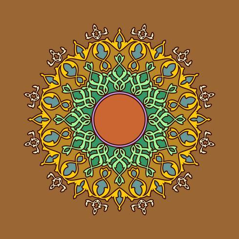 Mandala-dekorative Verzierungs-Brown-Hintergrund-Vektor
