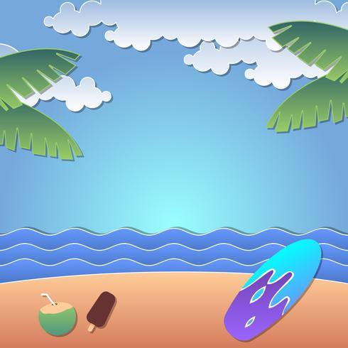 vector de verano playa papercraft