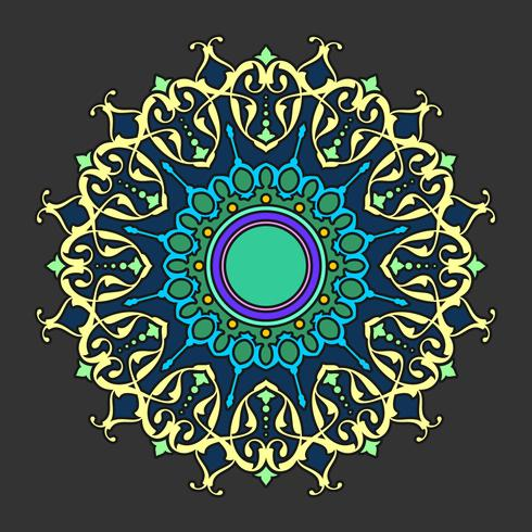 Ornements décoratifs de Mandala Dark Background Vector