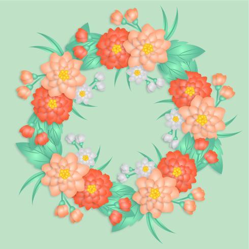 Vector Paper Flowers Wreath