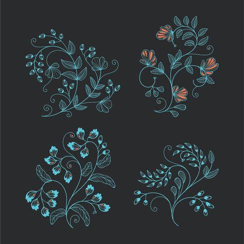 Coleção minimalista de ornamento Floral de Wireframe para elementos de Design