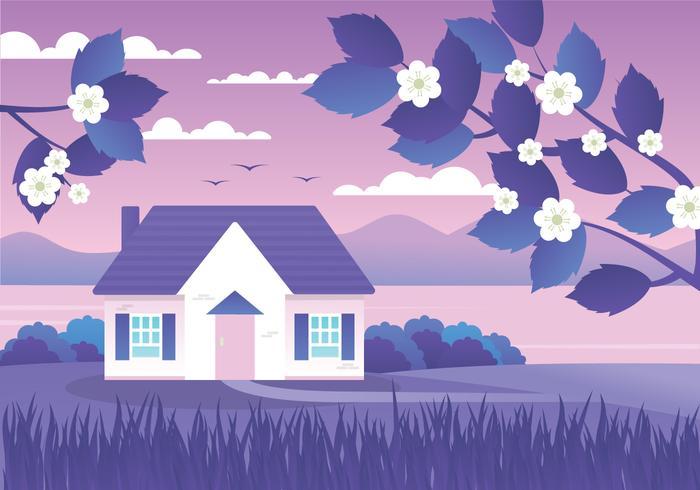 Purple Sunset Landscape Background vector