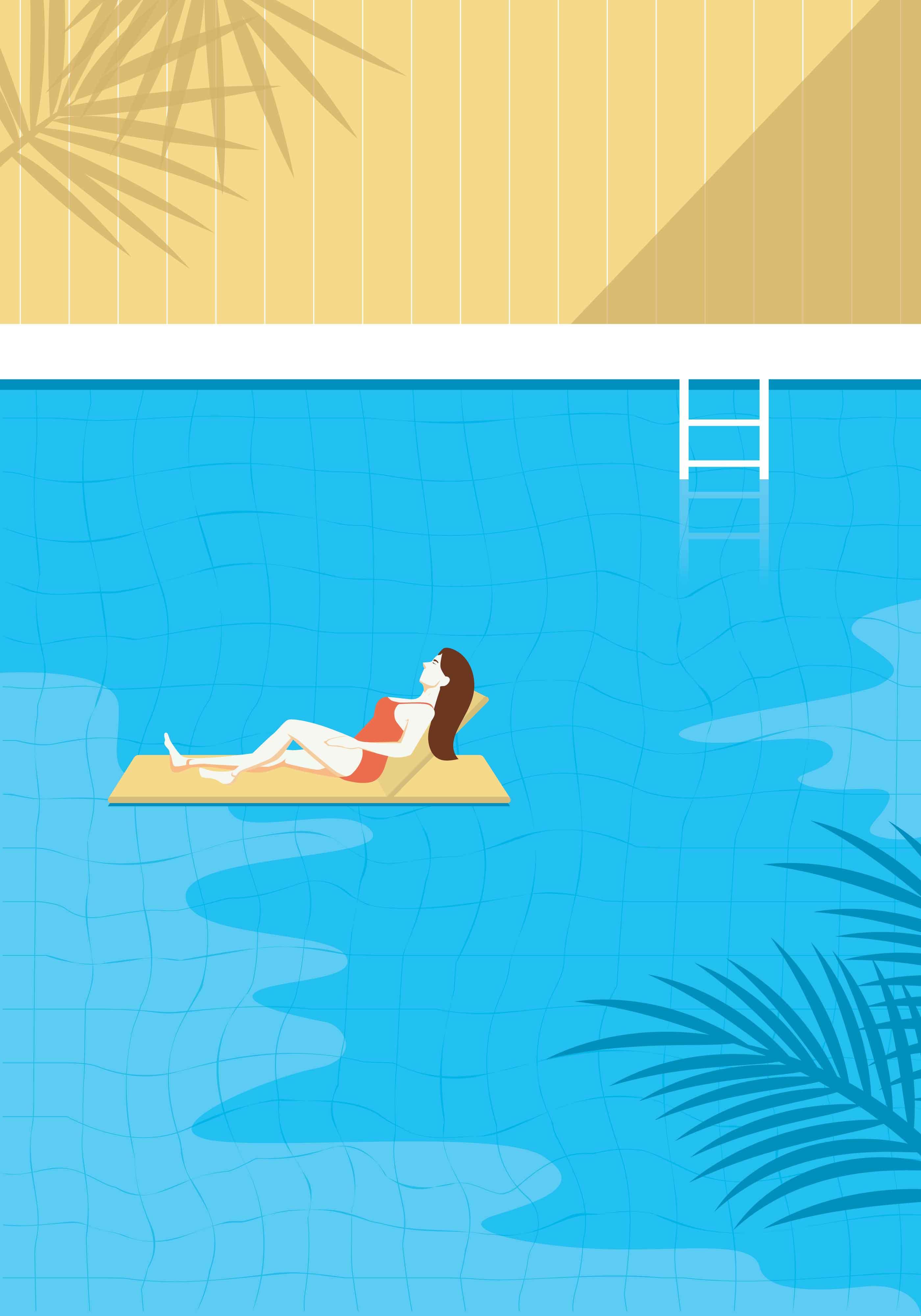Free Swimming Pool: Vintage Swimming Pool Illustration