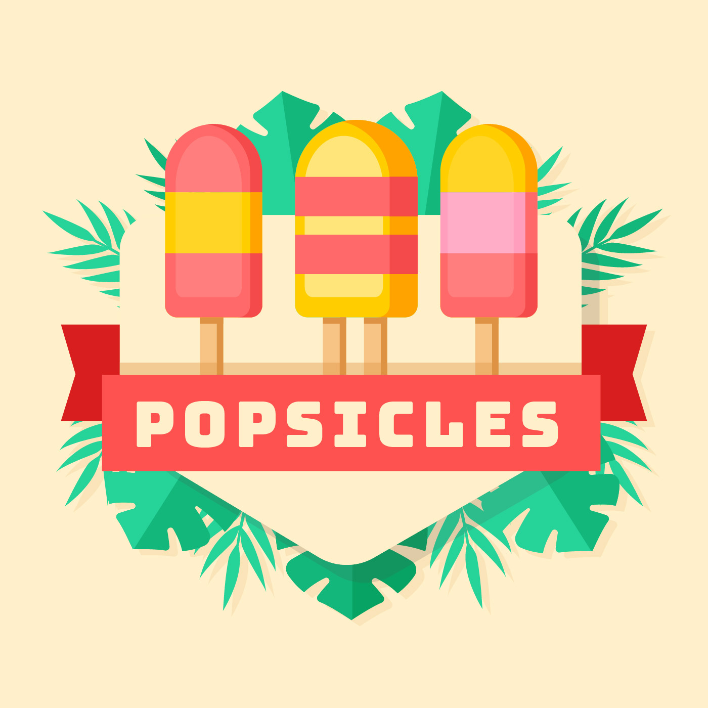 Fresh Ice Cream Stick In Summer Wallpaper Vector: Summer Popsicles Ice Cream Background