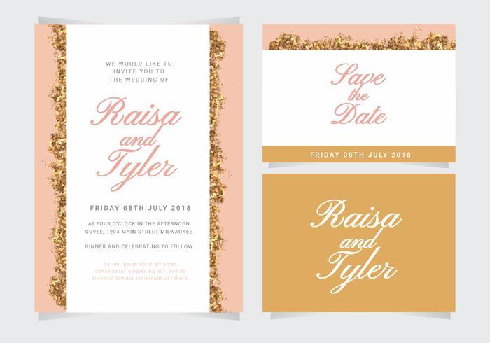 Vektor-Glitter Hochzeitseinladung