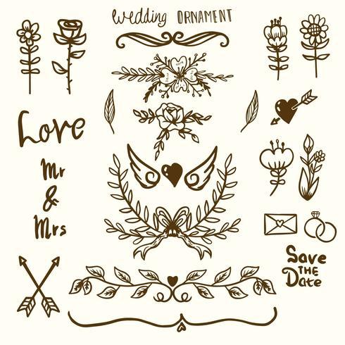 Ornamentos decorativos de casamento