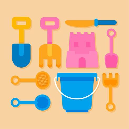 juguetes de castillo de arena de playa knolling vector