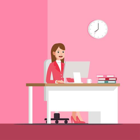 Business Woman Pink Vector