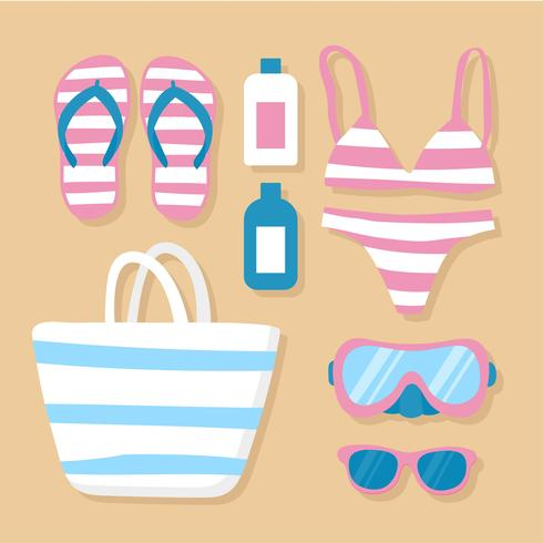 Beach Accessories Knolling Vector