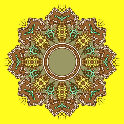 Ornements décoratifs de Mandala Vector Background jaune