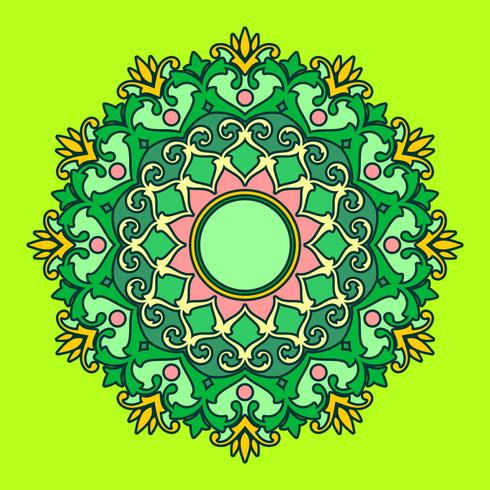 Mandala Decorativa Ornaments Green Background Vector