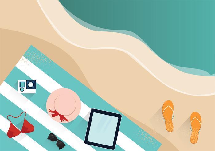 Accessoires de plage Knolling Vector Design