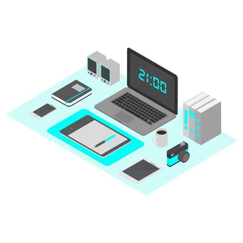 Isometric Workspace Vector Illustration